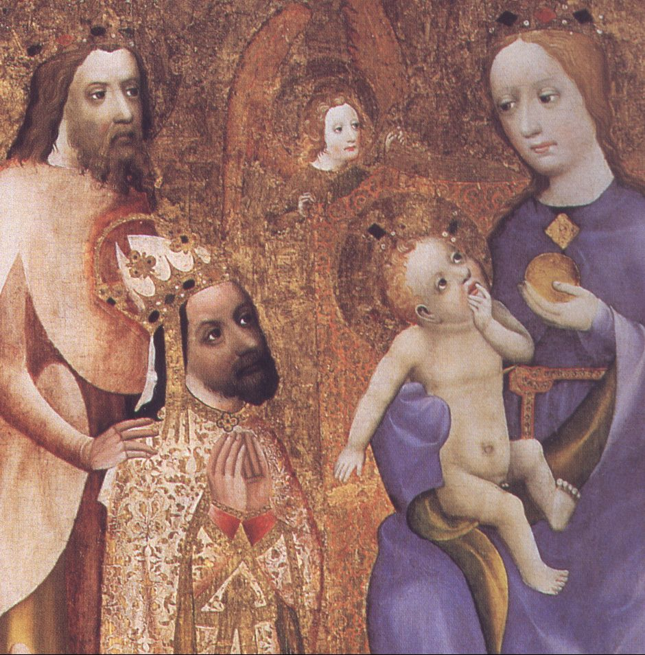 Ejdzej. Wikimedia.org : Charles IV kneeling before Madonna-, fragment of votive picture of Archbishop John Ocko of Vlasim [online]. 2007-03-07 [cit. 2015-10-19]. Dostupný pod licencí Public domain na WWW: <https://commons.wikimedia.org/wiki/File:Charles_IV_kneeling_before_Madonna-Votive_picture_of_archbishop_Jan_Ocko.jpg>.